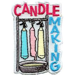 Candle, Craft, Wax, Wick, Patch, Embroidered Patch, Merit Badge, Badge, Emblem, Iron On, Iron-On, Crest, Lapel Pin, Insignia, Girl Scouts, Boy Scouts, Girl Guides