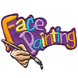 The words \'Face Painting\'\' are embroidered in different colours and are angled towards the top right. A hand holds a paint brush dripping with paint.