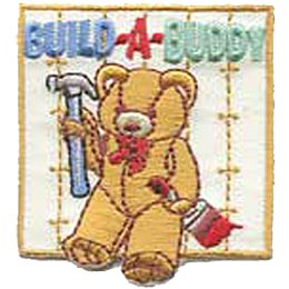 Build A Buddy, Bear, Teddy, Teddy Bear, Hammer, Paintbrush, Arts, Crafts, Patch, Embroidered Patch, Merit Badge, Crest, Girl Scouts, Boy Scouts, Girl