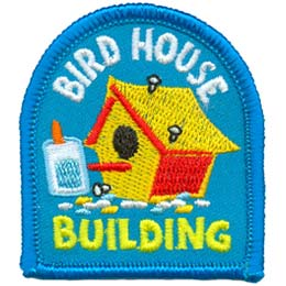 Bird, House, Build, Glue, Hammer, Patch, Embroidered Patch, Merit Badge, Badge, Emblem, Iron On, Iron-On, Crest, Lapel Pin, Insignia, Girl Scouts, Boy Scouts, Girl Guides