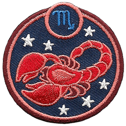 This circular crest displays a red scorpion surrounded by stars. The sign of Scorpio sits above it.