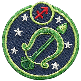 This circular crest displays a green bow and arrow surrounded by stars. The sign of Sagittarius sits above it.