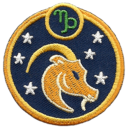 This circular crest has the side profile of a goat surrounded by stars. The sign of Capricorn sits above his head.