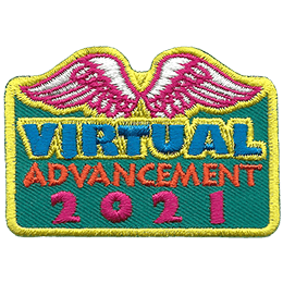 This rectangular crest has the text 'Virtual Advancement 2021' stacking into three lines. White angel wings are embroidered at the top of the crest.