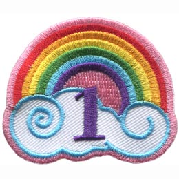 This patch has a rainbow arching over a white cloud with blue outlines. The number \'\'1\'\' is embroidered under the rainbow\'s arch.