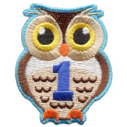 Owl, Brownie, Hoot, Who, One, 1, First, Year, Patch, Embroidered Patch, Merit Badge, Badge, Emblem, Iron On, Iron-On, Crest, Lapel Pin, Insignia, Girl Scouts, Boy Scouts, Girl Guides