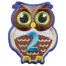 Owl, Brownie, Hoot, Who, Two, 2, Second, Year, Patch, Embroidered Patch, Merit Badge, Badge, Emblem, Iron On, Iron-On, Crest, Lapel Pin, Insignia, Girl Scouts, Boy Scouts, Girl Guides