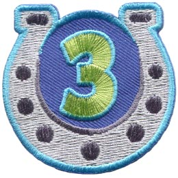 Horseshoe, Guides, Game, Three, 3, Third, Year, Patch, Embroidered Patch, Merit Badge, Badge, Emblem, Iron On, Iron-On, Crest, Lapel Pin, Insignia, Girl Scouts, Boy Scouts, Girl Guides
