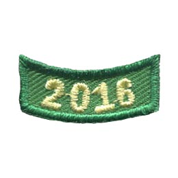 This 1 inch wide by 0.5 inch high rocker curves upwards like a smile. The year 2016 is embroidered in a bold font.