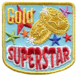 Two gold star medals are placed among different colour stars. The words 'Gold Superstar' is embroidered on this patch.