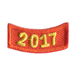 This 1 inch wide by 0.5 inch high rocker curves upwards like a smile. The year 2017 is embroidered in a bold font.