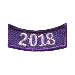 This 1 inch wide by 0.5 inch high rocker curves upwards like a smile. The year 2018 is embroidered in a bold font.