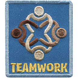 This rectangular patch is the top down view of four people, of varying colour, interlocking their arms. The text \'Teamwork\' is embroidered underneath the image.