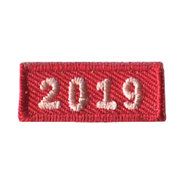 This 1.0 inch wide by 0.5 inch high rocker forms a straight-edged red rectangle. The year 2019 is embroidered in a bold font.