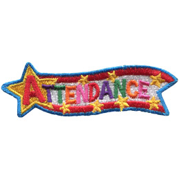 This award patch has a large star at the left attached to a banner of red, white, and red that streams towards the right. The word \'Attendance\' is written from the star down the banner.