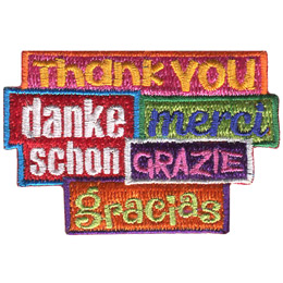 This patch says the words \'Thank You\' in five different languages.
