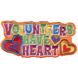 Three words are stack on top of each other: Volunteers, Have, and Heart. To the left of \'Have Heart\' is a big heart with a little one inside it. To the right is a medium heart with a little one inside it and a small heart.