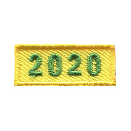 This 1.0 inch wide by 0.5 inch high rocker forms a straight-edged yellow rectangle. The year 2020 is embroidered in a bold font.