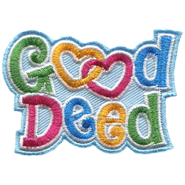 The word Good is stacked upon the word Deed. The double Os in Good are two interlinking hearts.