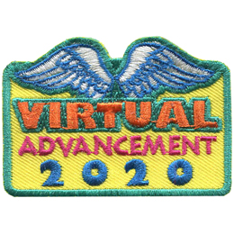This roughly square crest has the text Virtual Advancement 2020 stacked on top of each other. Two white feathered wings arch over the word Virtual.