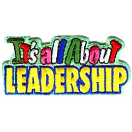 This patch is all text. The words It\'s All About is written on above the text Leadership.