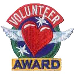 Volunteer, Award, Heart, Wing, Star, Sparkle, Thanks, Thank You, Patch, Embroidered Patch, Merit Badge, Iron On, Iron-On, Crest, Girl Scouts, Boy Scou