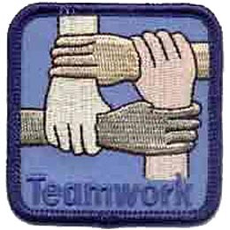 Teamwork, Hands, Leadership, Cooperate, Team, Patch, Embroidered Patch, Merit Badge, Crest, Girl Scouts, Boy Scouts, Girl Guides