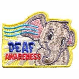 A friendly elephant tilts it's head as it listens to three sound waves entering it's ear. The words ''Deaf Awareness'' are embroidered in blue and red respectively on the left hand side of the patch.