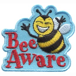 A smiling bumble bee hovers over the words ''Bee Aware.''