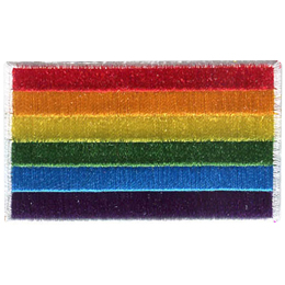 This rainbow flag has horizontal bars of colour. Starting from the bottom and going up they are: purple, blue, green, yellow, orange and red.