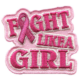 This pink badge has the words \'Fight Like A Girl\' with the \'I\' in \'Fight\' replaced by a breast cancer ribbon.