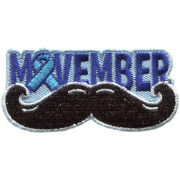 <p>A handlebar moustache sits under the word \'Movember.\' The \'O\' in \'Movember\' is a blue ribbon.</p>