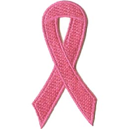 Ribbon, Pink, Breast, Cancer, Support, Walk, Cure, Patch, Embroidered Patch, Merit Badge, Crest, Girl Scouts, Boy Scouts, Girl Guides
