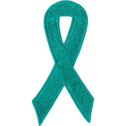 A teal ribbon is curled on itself to form a simple loop.