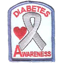 Diabetes Awareness, Ribbon, Heart, Patch, Embroidered Patch, Merit Badge, Crest, Girl Scouts, Boy Scouts, Girl Guides