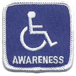 Handicap Awareness, Disability, Wheelchair, Challenged, Patch, Embroidered Patch, Merit Badge, Crest, Girl Scouts, Boy Scouts, Girl Guides