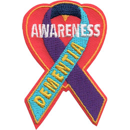 The Dementia ribbon of purple and blue sits on a heart background. The word \'Dementia\' runs up the forefront of the ribbon.