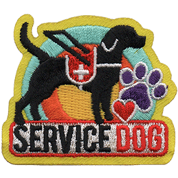 A black lab stands proud in their vest overtop of the words \'Service Dog\'.
