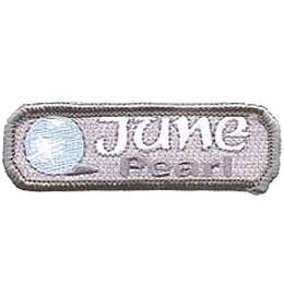 Birthstone, Stone, Birth, Pearl, Jewel, June, Month, Patch, Embroidered Patch, Merit Badge, Iron On, Iron-On, Crest, Girl Scouts, Boy Scouts, G