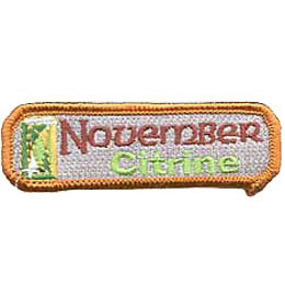 Birthstone, Stone, Birth, Citrine, Jewel, November, Month, Patch, Embroidered Patch, Merit Badge, Iron On, Iron-On, Crest, Girl Scouts, Boy Scouts,