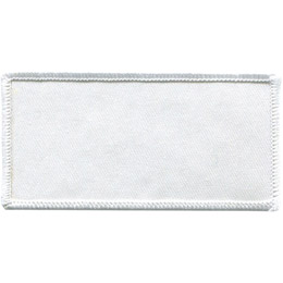 This white rectangular twill patch has a white merrow border. Perfect for creating your own patch.