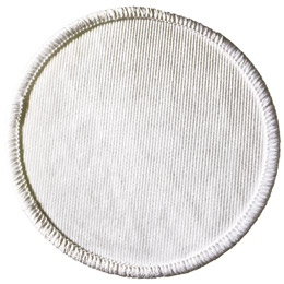 This white circular twill patch has a white merrow border. Perfect for creating your own patch.