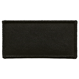 This horizontal rectangle is made of black twill with a black merrow border.