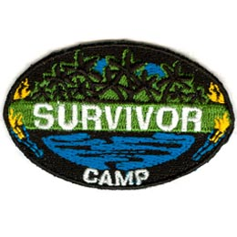 Survivor Camp, Tropics, Trees, Palm, Tropical, Torch, Patch, Embroidered Patch, Merit Badge, Crest, Girl Scouts, Boy Scouts, Girl Guides