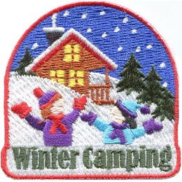Winter, Camping, Camp, Snow, Cabin, Tree, Patch, Embroidered Patch, Merit Badge, Badge, Emblem, Iron On, Iron-On, Crest, Lapel Pin, Insignia, Girl Scouts, Boy Scouts, Girl Guides