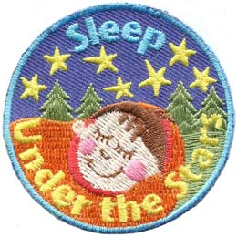 Sleep, Camp, Tent, Stars, Under, Sleep Under The Stars, Outside, Patch, Embroidered Patch, Merit Badge, Badge, Emblem, Iron On, Iron-On, Crest, Lapel Pin, Insignia, Girl Scouts, Boy Scouts, Girl Guide