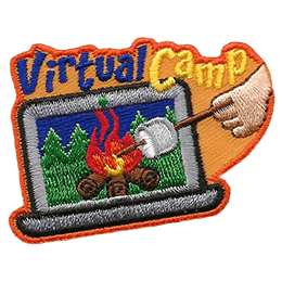A laptop displays a campfire with a forest background. Off screen, a person reaches in from the right with a marshmallow on a stick. The text Virtual Campfire sits at the top of the crest.