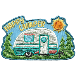 A camper is parked in a forest under a nice warm sun. The text \'Happy Camper\' is embroidered in the top left.