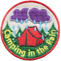 Camp, Rain, Tent, Cloud, Weather, Patch, Embroidered Patch, Merit Badge, Badge, Emblem, Iron On, Iron-On, Crest, Lapel Pin, Insignia, Girl Scouts, Boy Scouts, Girl Guides