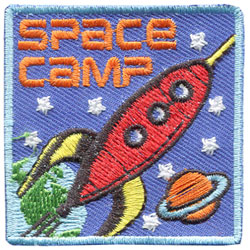 Space, Camp, Stars, Planet, Saturn, Rocket, Rocketship, Ship, Patch, Embroidered Patch, Merit Badge, Badge, Emblem, Iron On, Iron-On, Crest, Lapel Pin, Insignia, Girl Scouts, Boy Scouts, Girl Guides